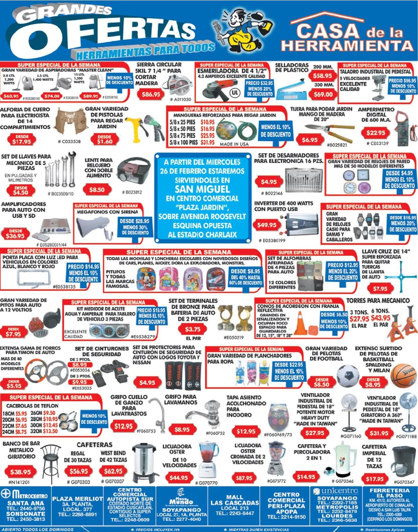 Grandes ofertas casa de la herramienta el salvador for Casas de herramientas