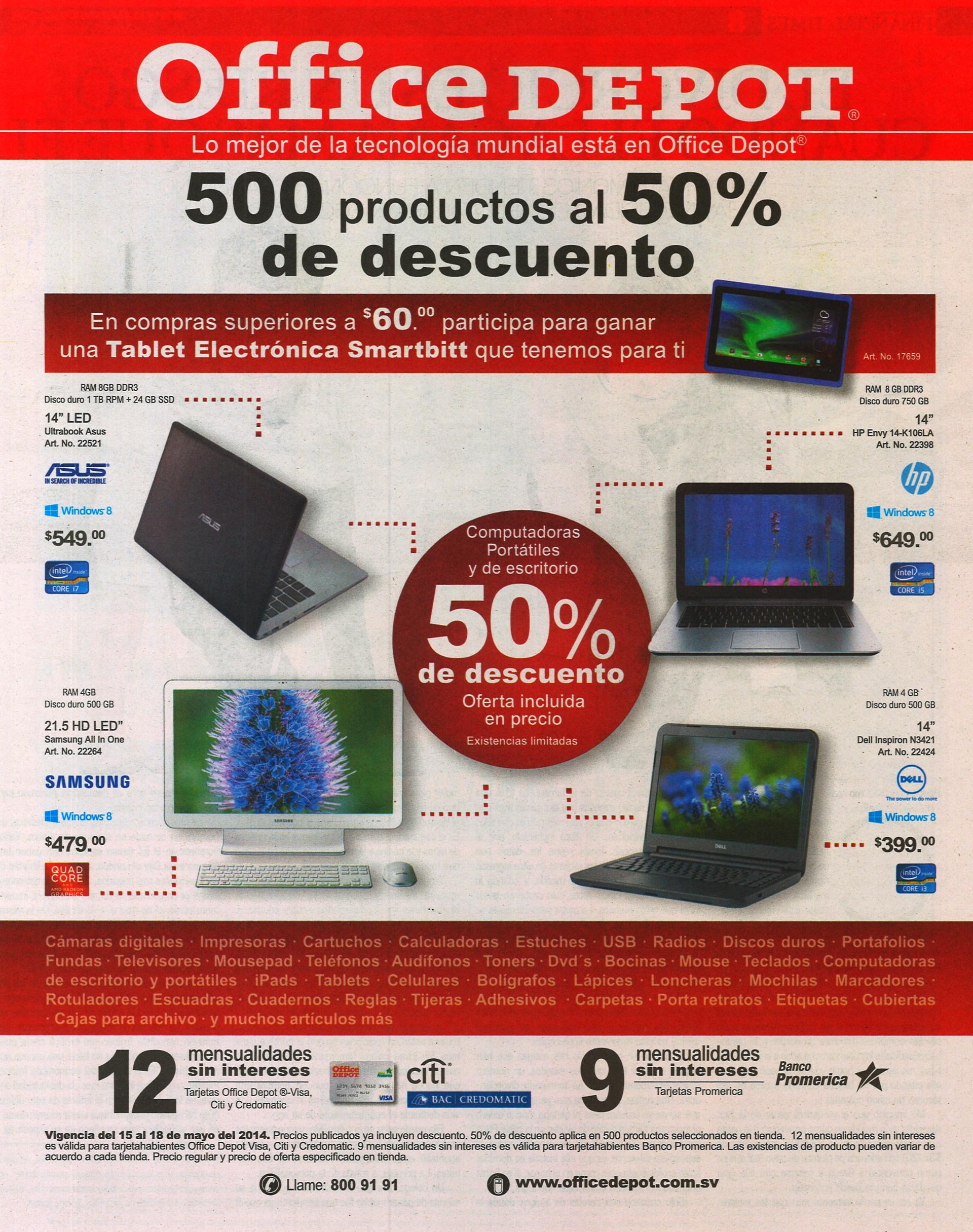 Office depot 500 productos al 50 off de descuento for Home depot productos