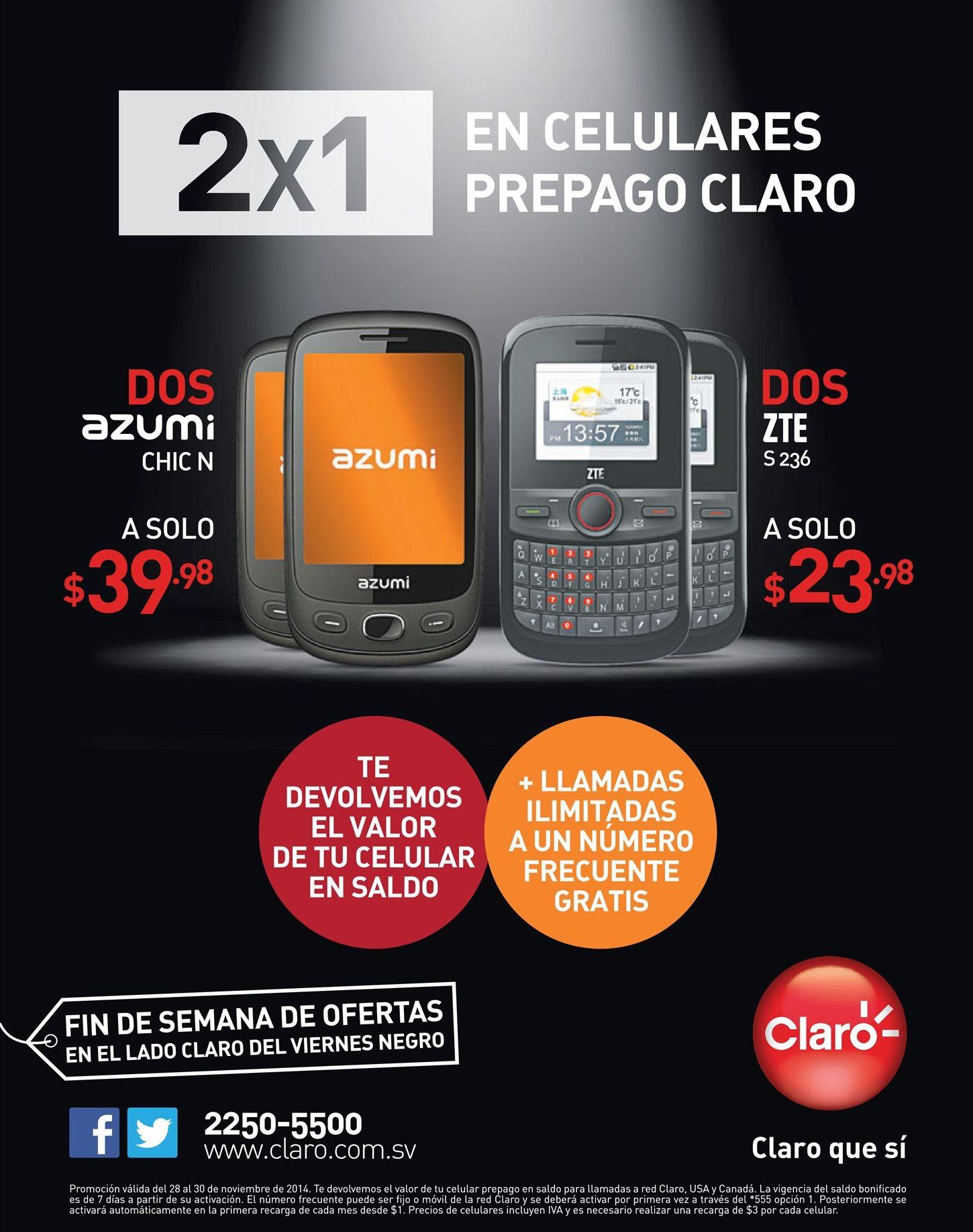 Celulares 2x1 promociones CLARO friday - 28nov14 - Ofertas