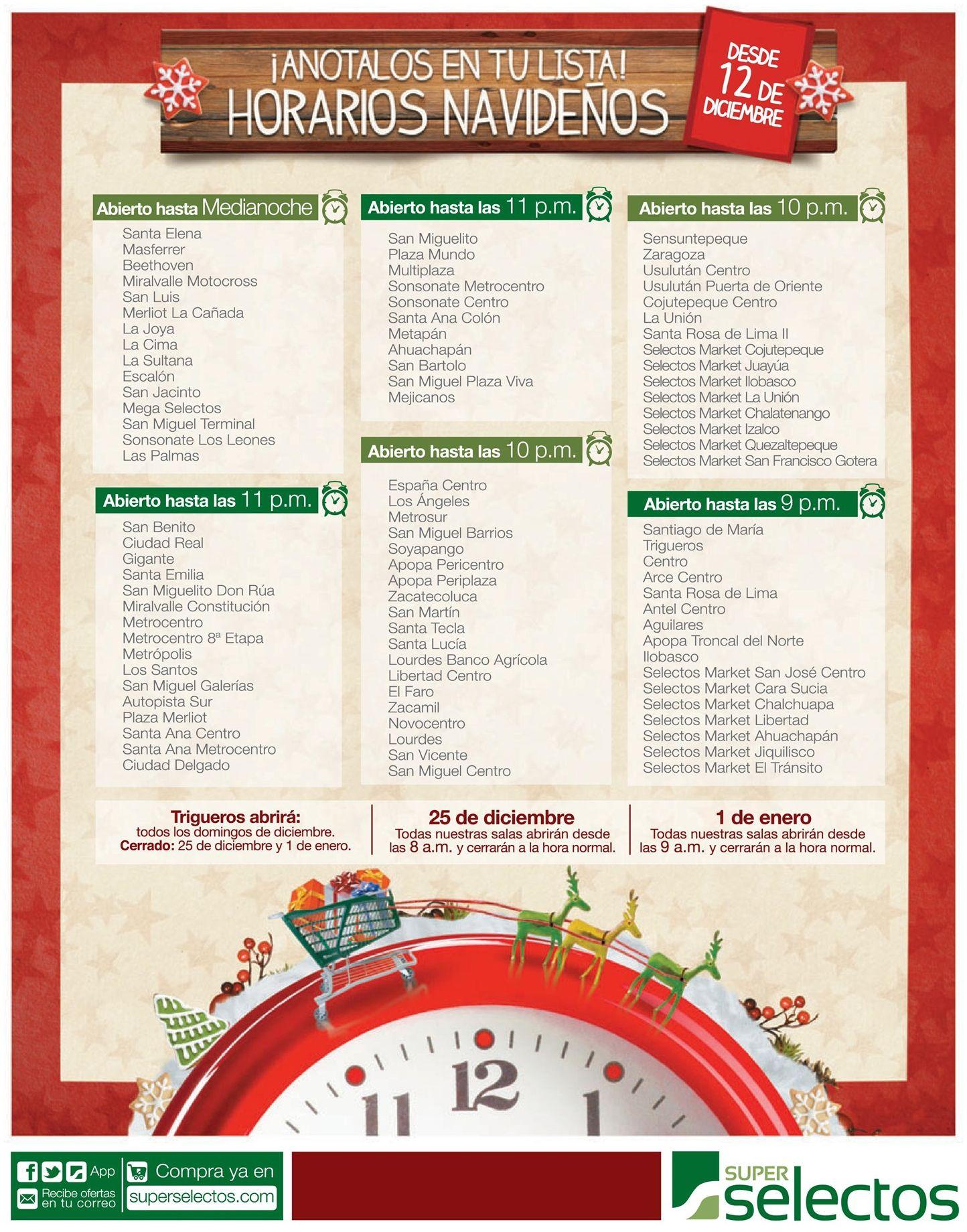 Cuales son los horarios navidad del super selectos for Cuales son los adornos navidenos