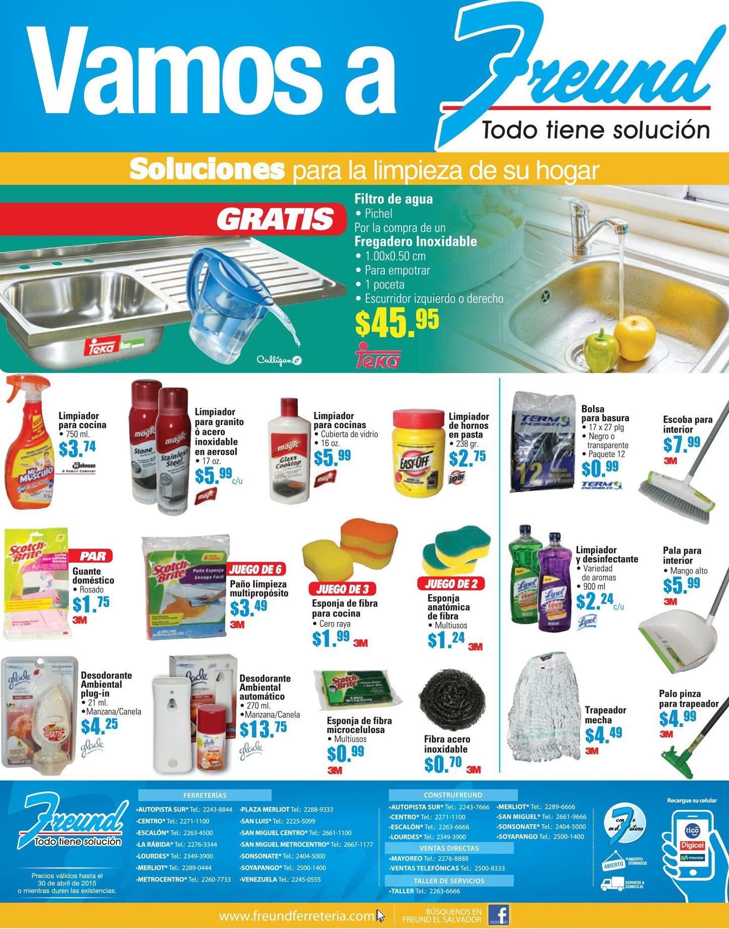 Freund venta de productos para limpieza de su hogar y for Productos de limpieza para cocina