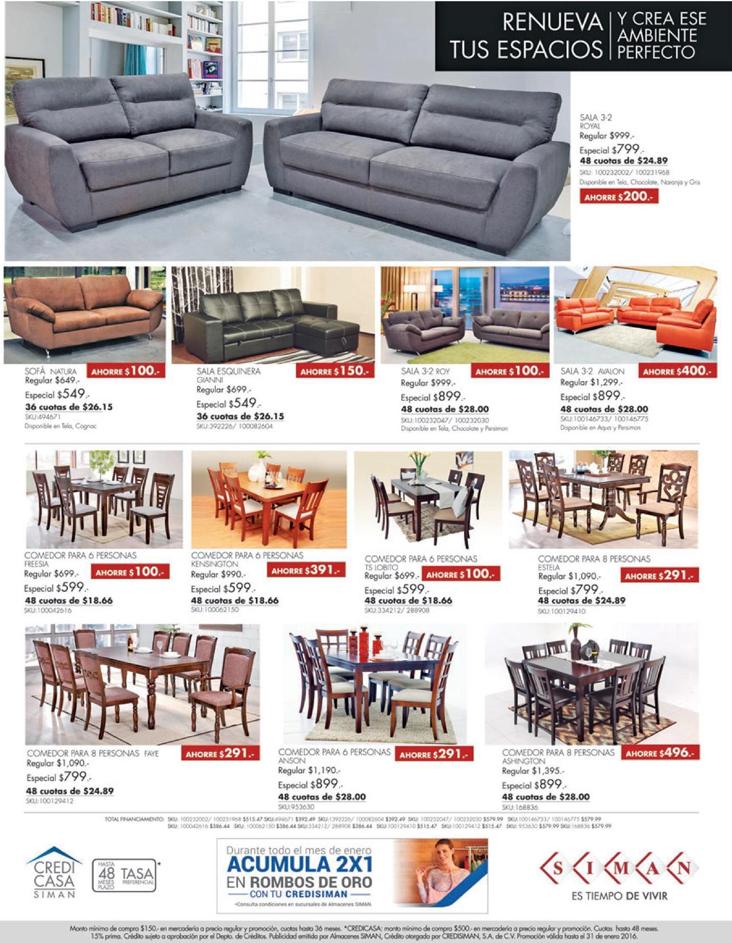 Siman ofertas de muebles y comedores enero 2016 ofertas for Ofertas muebles