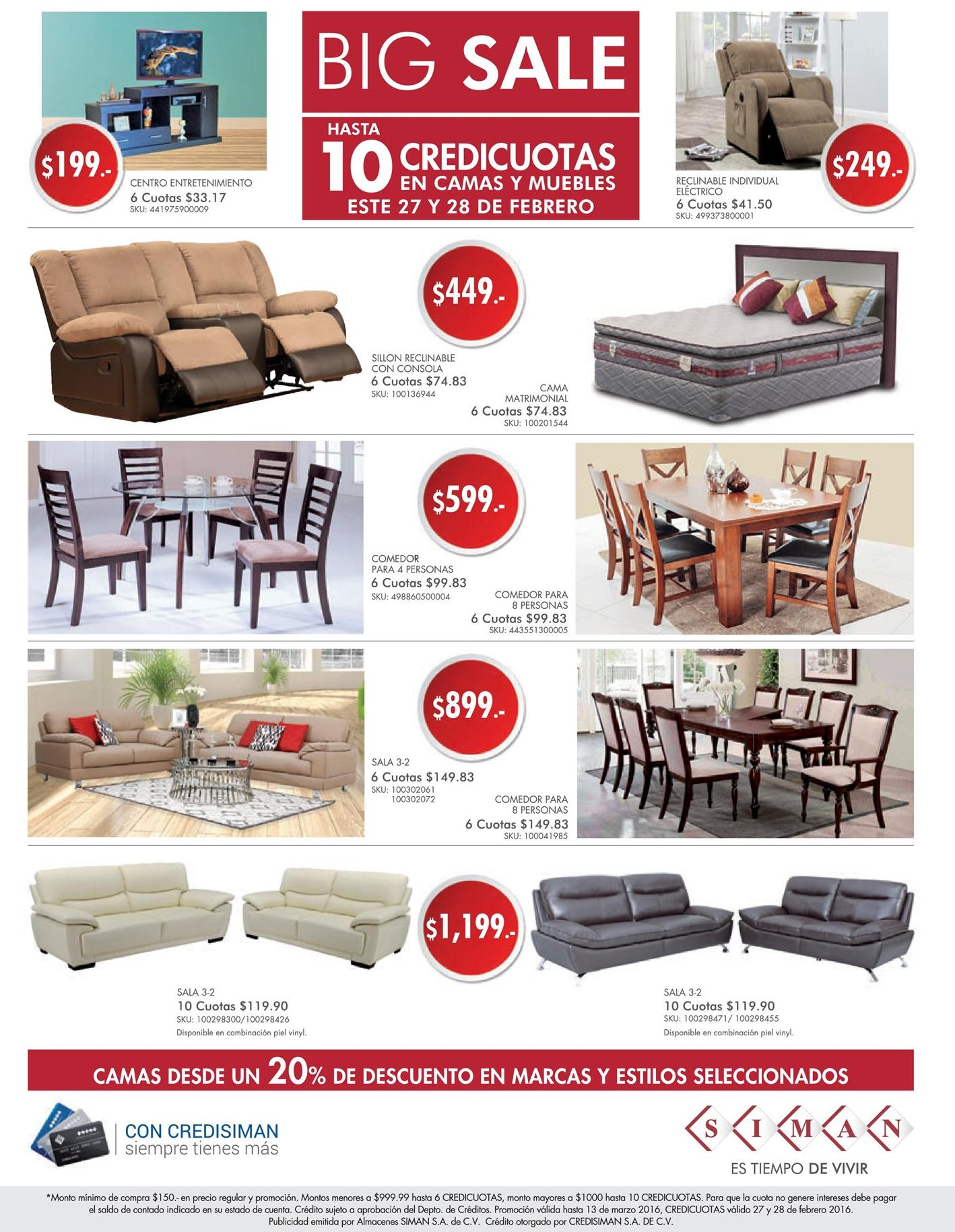 Big sales de muebles salas comedores en siman febrero 2016 for Ofertas de comedores