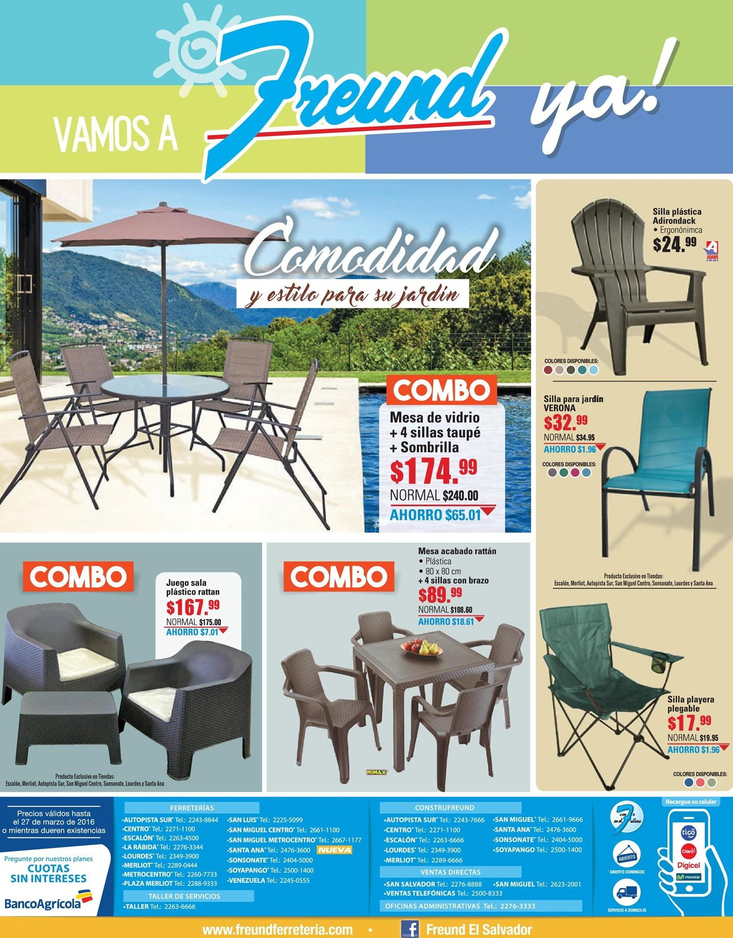COMBOS de muebles de jardin FREUND vacaciones - 18mar16 - Ofertas Ahora