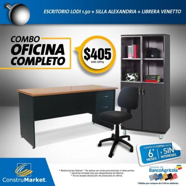 Combo de muebles para oficina completo escritorio silla for Sillas de escritorio walmart