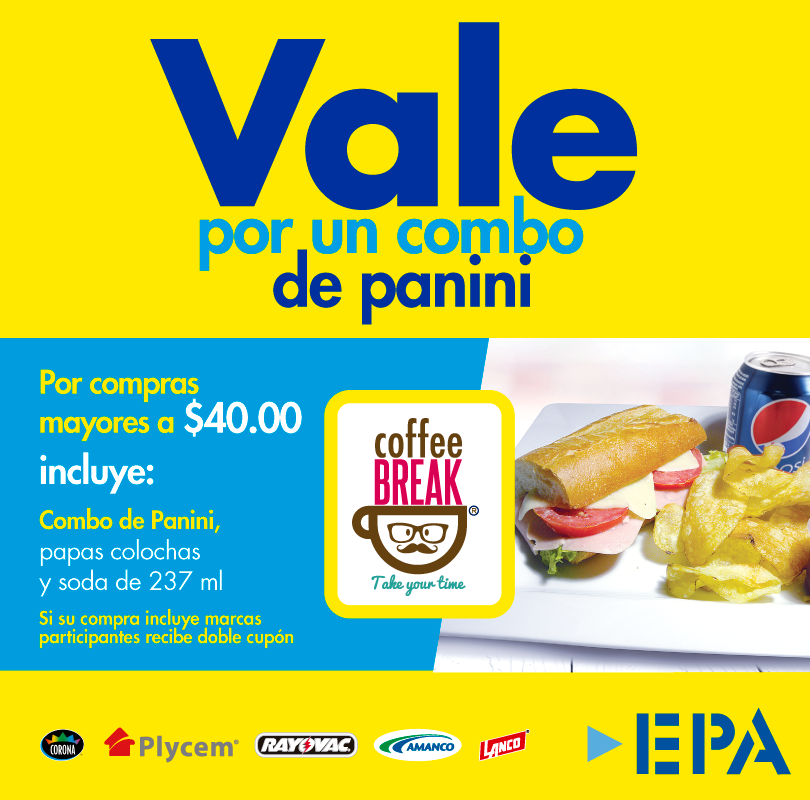 VALE por un combo de panini COFFEE BREAK el salvador via EPA