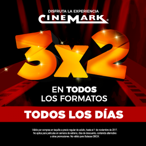 CINEMARK el salvador promocion 3x2 entradas para el cine