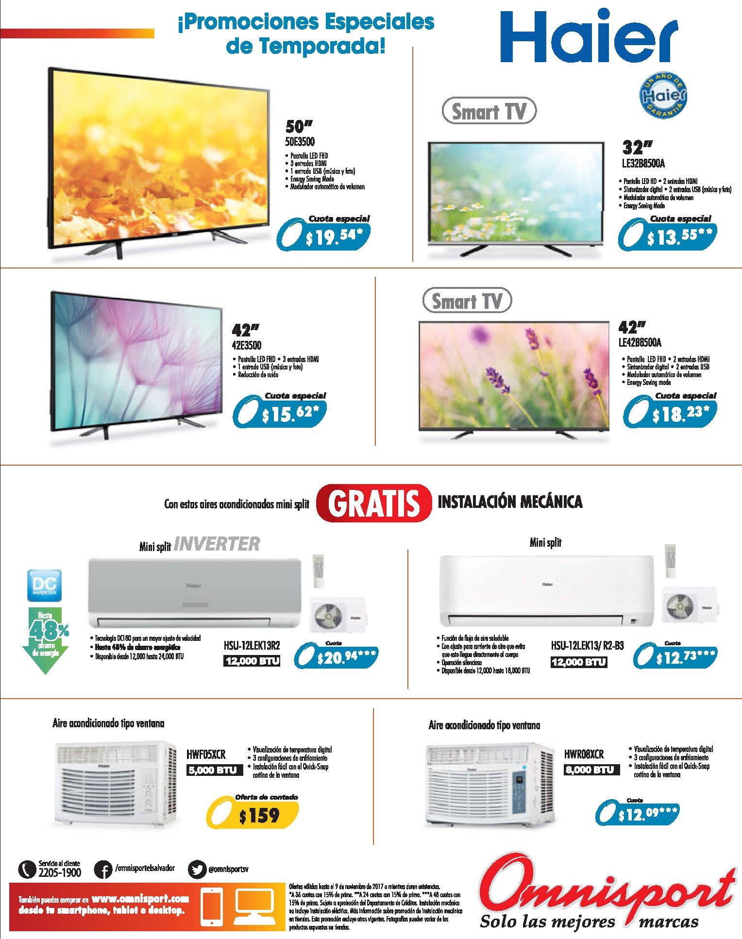 HAIER pantallas y aires acondiciones con precios especiales - nov 17