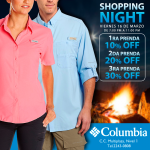 Multiplaza Shopping Night 16 Marzo - COLUMBIA discounts sv