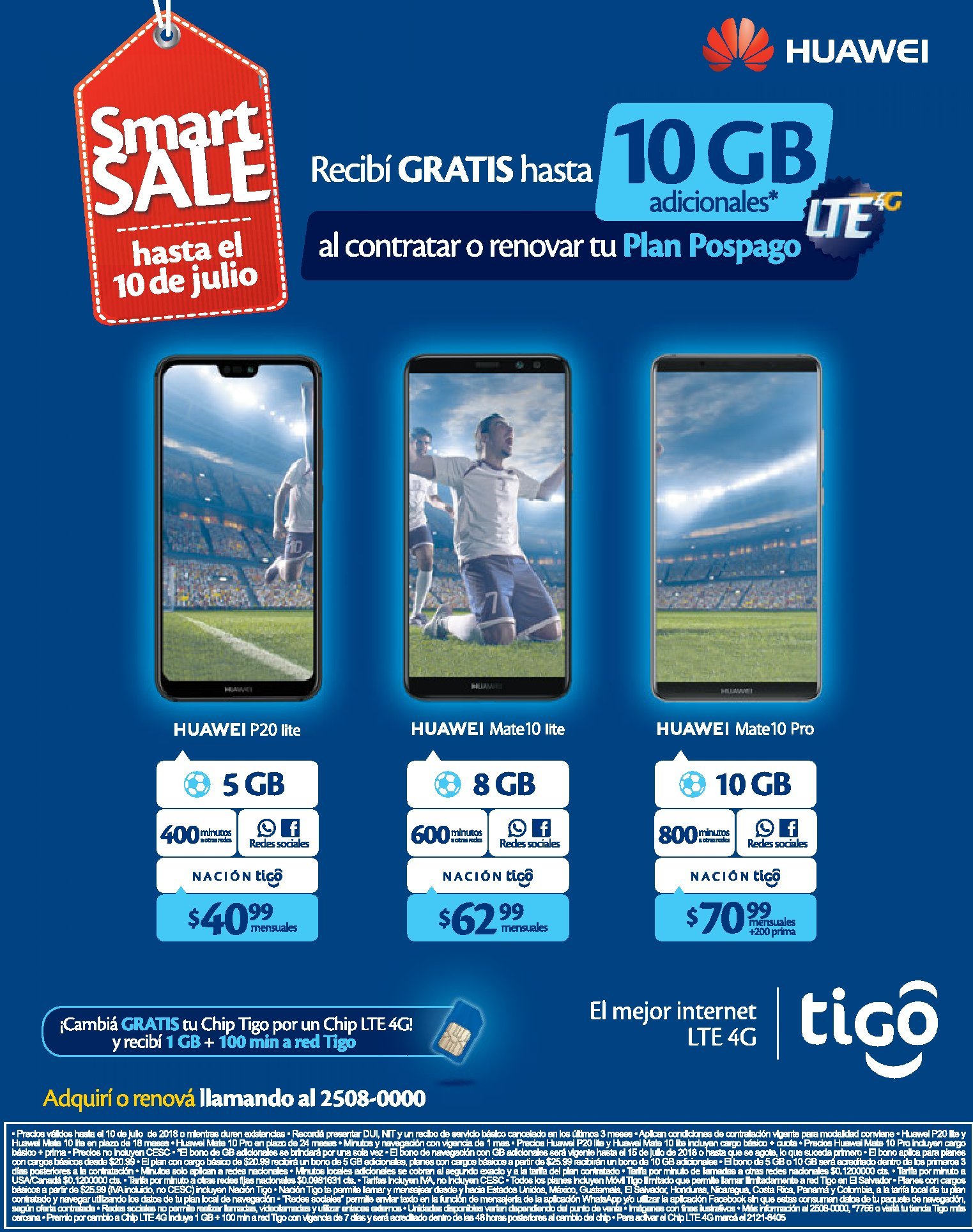 SMART sale de tigo 10 GB de internet LTE