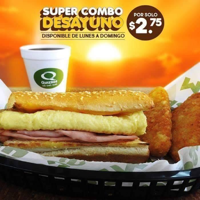 SUPER combo de desayuno en QUIZNOS julio 2018